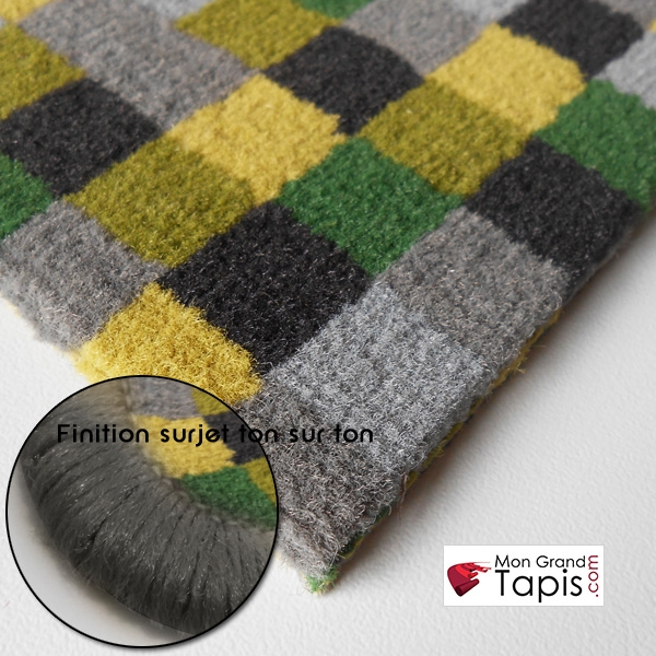tapis de couloir pixel vert jaune et gris vorwerk finition surjet pictures. Black Bedroom Furniture Sets. Home Design Ideas