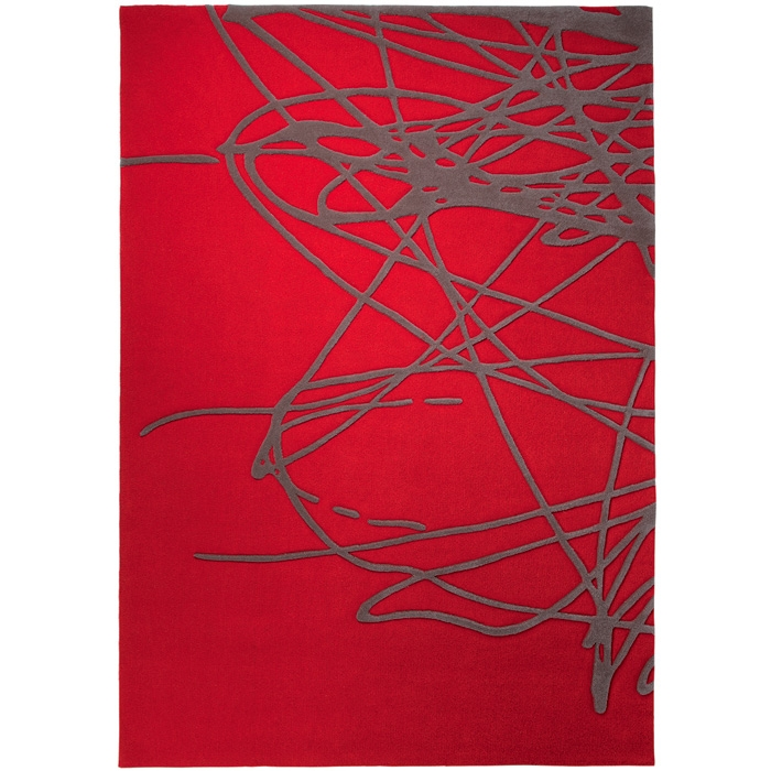 Tapis design gris et rouge images - Tapis salon gris design ...