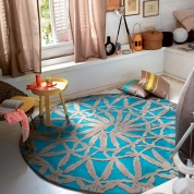 Tapis Rond Turquoise et Taupe Esprit Home