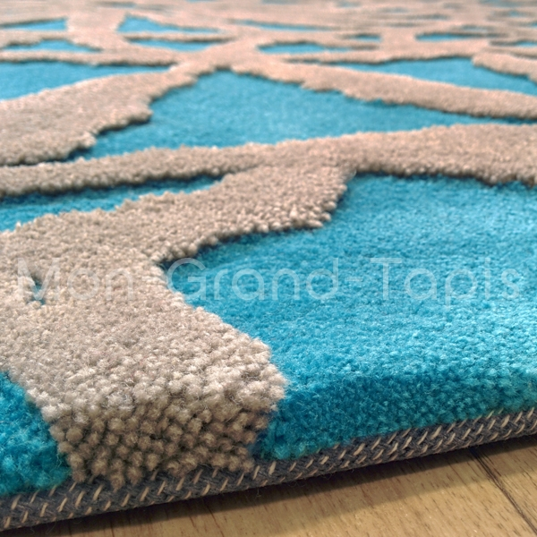 tapis bleu turquoise pour salon. Black Bedroom Furniture Sets. Home Design Ideas