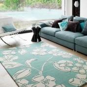 Tapis Turquoise à Motifs Floraux Joseph LEBON en 200 x 300 cm
