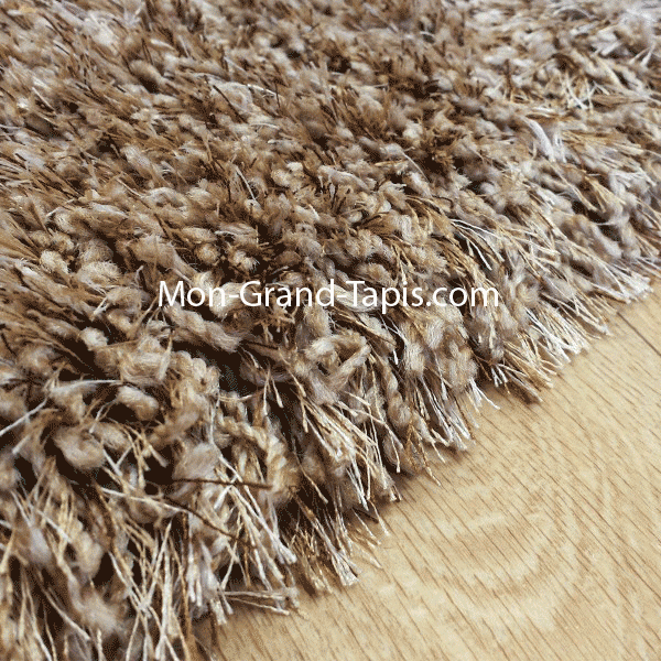 Grand tapis shaggy rond beige sur mesure par mon grand tapis s lection - Tapis shaggy beige ...
