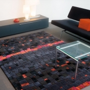 Tapis design noir et rouge premium Mosaic par Arte Espina